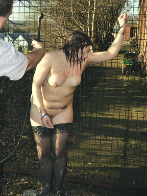 chubby isabels  arre outdoor humiliation and hosed down public