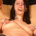 Shocking humiliation for brunette slaves body